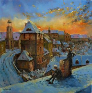 Jan Odehnal - Kominíci a západ slunce