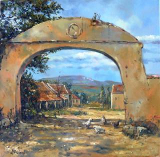 Jan Odehnal - Průhled branou strachotínského dvora na Pálavu